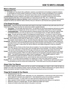 Resume & Cover Letters – SuccessWorks – UW–Madison